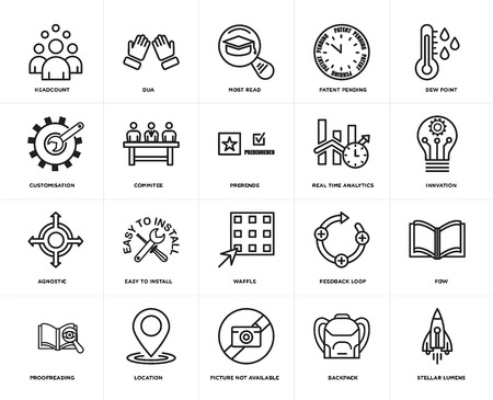 Set Of 20 simple editable icons such as stellar lumens, innvation, dew point, patent pending, proofreading, dua, feedback loop, customisation, web UI icon pack, pixel perfect