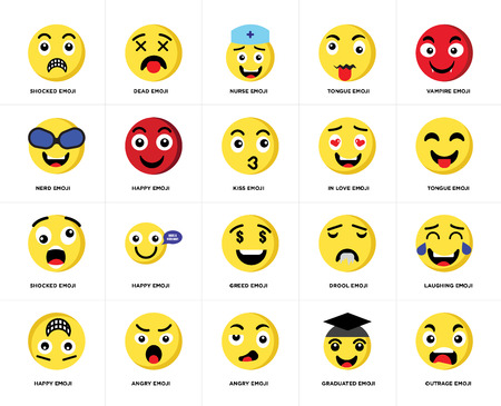 Set Of 20 simple editable icons such as Outrage emoji, Tongue Vampire Happy Dead Drool Nerd web UI icon pack, pixel perfect Stock Vector - 111892446