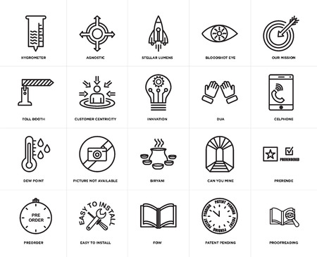 Set Of 20 simple editable icons such as proofreading, celphone, our mission, bloodshot eye, preorder, agnostic, can you mine, toll booth, web UI icon pack, pixel perfect