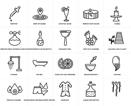 Set Of 20 simple editable icons such as Massages tool, Liquid soap bottle, Overcoat, Female bikini and male short for spa, feet with flowers, web UI icon pack, pixel perfect