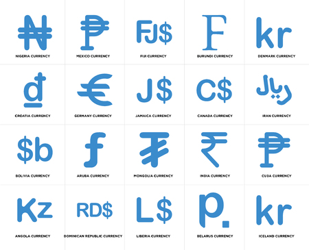Set Of 20 simple editable icons such as Iran currency, Liberia Dominican Republic Croatia Jamaica web UI icon pack, pixel perfect Illustration