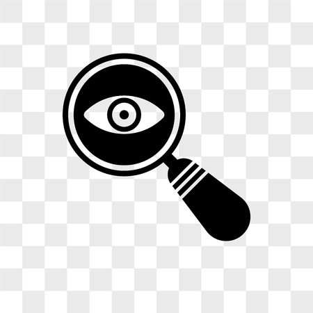 Icono de vector de búsqueda de detective aislado sobre fondo transparente, concepto de logo de búsqueda de detective Logos