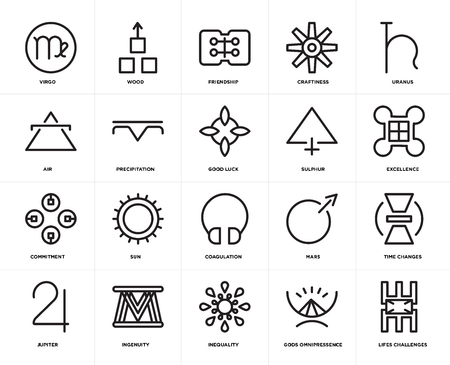 Set Of 20 simple editable icons such as Lifes challenges, Excellence, Uranus, Craftiness, Jupiter, Wood, Mars, Air, web UI icon pack, pixel perfect Vecteurs