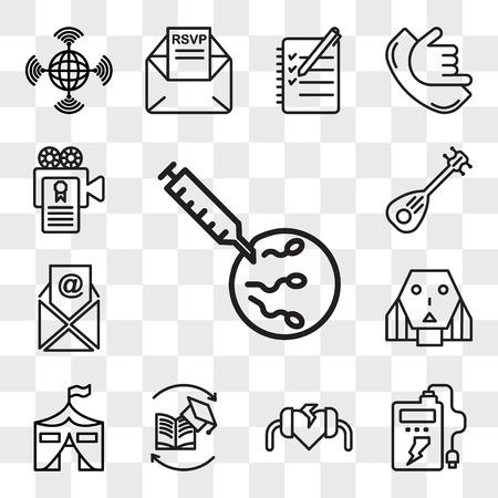 Satz von 13 transparenten bearbeitbaren Symbolen wie IVF, Powerbank, Defibrillator, Weiterbildung, Militärbasis, Roboterin, E-Mail, Laute, Drehbuch, Web-UI-Symbolpaket, Transparenzsatz