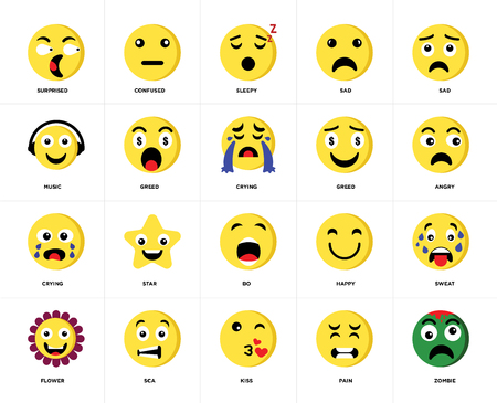 Set Of 20 icons such as Zombie, Pain, Kiss, Sca, Flower, Sad, Greed, Bo, Crying, Sleepy, web UI editable icon pack, pixel perfect 向量圖像