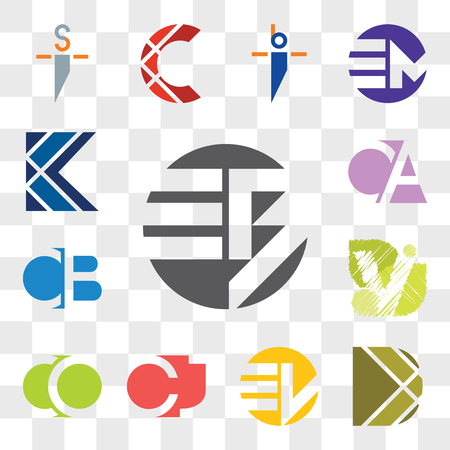 Set Of 13 transparent editable icons such as EB BE, D Letter, EW WE, CJ JC, CO OC, V CB BC, CA AC, K web ui icon pack, transparency set