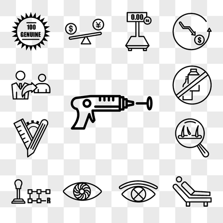Set Of 13 transparent editable icons such as laser tag, psychologist, censorship, hypnosis, gear shift, hair loss, tailor made, dairy free, referrals, web ui icon pack, transparency set