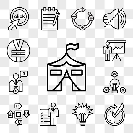 Set Of 13 transparent editable icons such as military base, realtime, lumen, roles and responsibilities, pdca, proactive, cfo, expo, rmb, web ui icon pack, transparency set Illustration