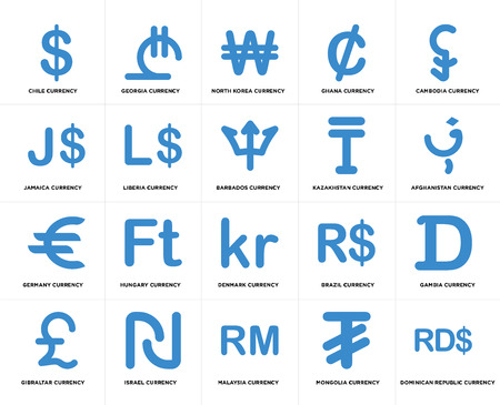 Set Of 20 simple editable icons such as Afghanistan currency, Malaysia Israel Jamaica Barbados web UI icon pack, pixel perfect