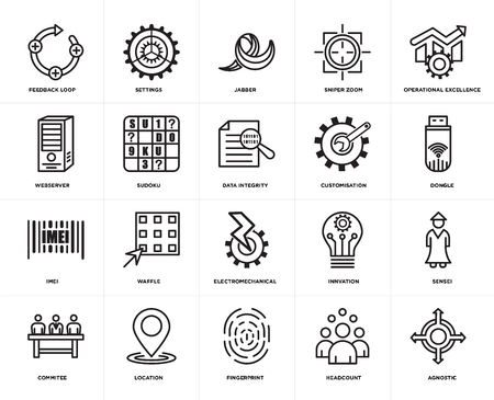 Set Of 20 simple editable icons such as agnostic, dongle, operational excellence, sniper zoom, commitee, settings, innvation, webserver, web UI icon pack, pixel perfect