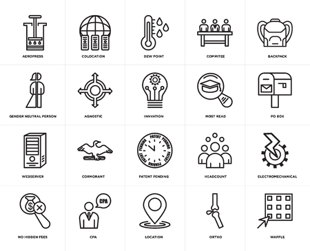 Set Of 20 icons such as waffle, ortho, location, cpa, no hidden fees, Backpack, most read, patent pending, webserver, agnostic, dew point, web UI editable icon pack, pixel perfect