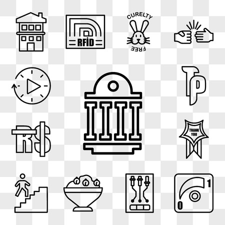 Set Of 13 transparent editable icons such as public sector, dimmer, , hummus, stairwell, thankyou, saudi riyal, tp, downtime, web ui icon pack, transparency set Stock Illustratie