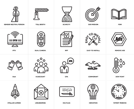 Set Of 20 simple editable icons such as patent pending, remove ads, fow, our mission, stellar lumens, toll booth, cormorant, iptv, web UI icon pack, pixel perfect