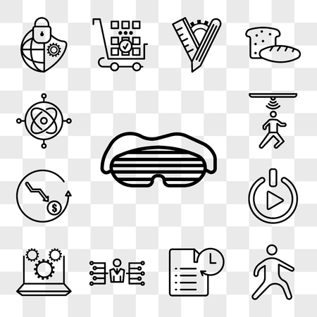 Set Of 13 transparent icons such as sleep mask, kung fu, transaction history, delegate, marketing automation, get started, cheaper, motion capture, web ui editable icon pack, transparency set Stock Illustratie