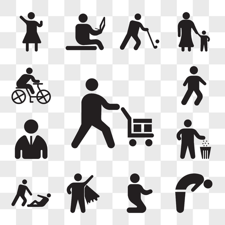 Set Of 13 transparent icons such as Worker loading boxes, Backbend, Man praying laying on his knees, Superman Flying, Helping wounded man, web ui editable icon pack, transparency Illustration