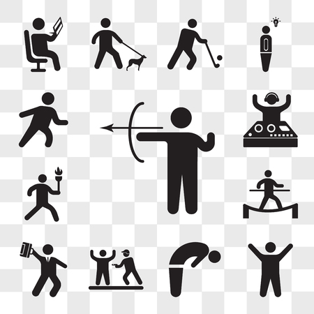 Set Of 13 transparent icons such as Archery skill, Arms up, Backbend, Police Arrest, Hurry businessman, Man in balance on a tightrope, web ui editable icon pack, transparency