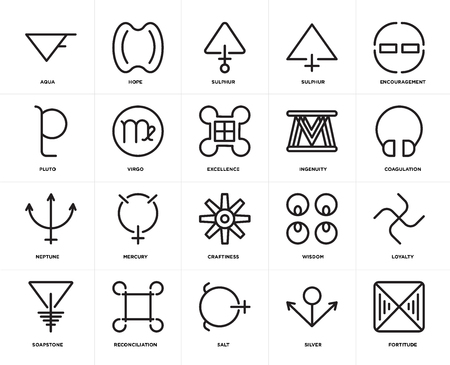 Set Of 20 icons such as Fortitude, Silver, Salt, Reconciliation, Soapstone, Encouragement, Ingenuity, Craftiness, Neptune, Virgo, Sulphur, web UI editable icon pack, pixel perfect Illustration