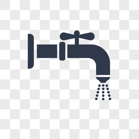 Water tap vector icon isolated on transparent background, Water tap logo concept