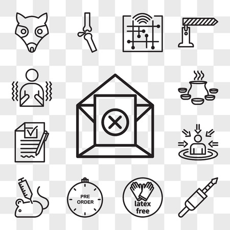 Set Of 13 transparent icons such as unsubscribe, 3.5 mm jack, latex free, preorder, animal experimentation, customer centricity, rfp, biryani, web ui editable icon pack, transparency set Illustration