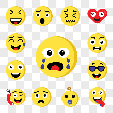Set Of 13 transparent editable icons such as Crying, Hungry, Baby, Sad, Phone call, Cool, Happy, Outrage, Sweat, web ui icon pack, transparency set Standard-Bild - 111892482