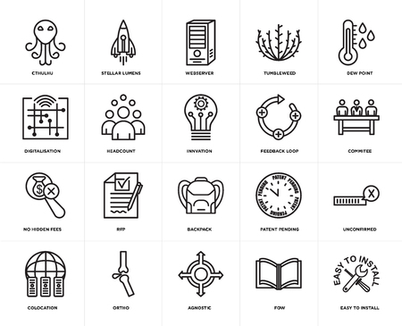 Set Of 20 simple editable icons such as easy to install, commitee, dew point, tumbleweed, colocation, stellar lumens, patent pending, digitalisation, web UI icon pack, pixel perfect