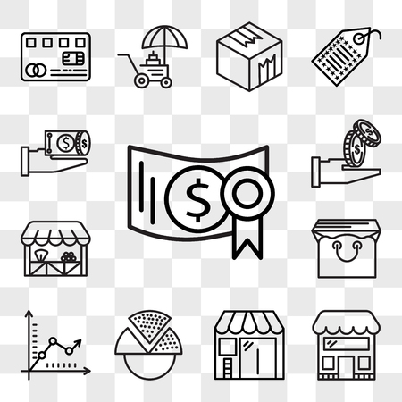 Set Of 13 transparent editable icons such as Investment, Store, Barbershop, Pie chart, Graph, Bag, Grocery, Get money, Money, web ui icon pack, transparency set
