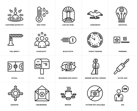 Set Of 20 simple editable icons such as cpa, prerende, innvation, cormorant, agnostic, dew point, gender neutral person, toll booth, web UI icon pack, pixel perfect