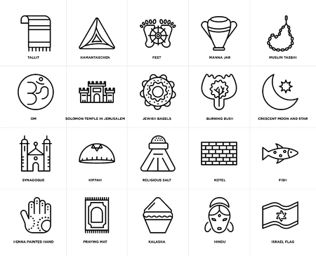 Set Of 20 simple editable icons such as Israel Flag, Crescent Moon and Star, Muslim Tasbih, Manna Jar, Henna painted hand, Hamantaschen, Kotel, Om, web UI icon pack, pixel perfect Illustration