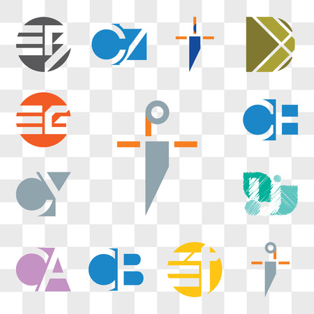 Set Of 13 transparent editable icons such as pi ip, qi iq, Et tE, CB BC, CA AC, V Letter, CY, YC, EG GE, web ui icon pack, transparency set