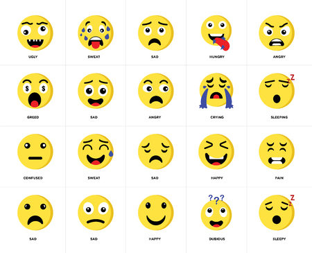 Conjunto de 20 iconos como sueño, dudoso, feliz, triste, enojado, llorando, confundido, paquete de iconos editables de la interfaz de usuario web, pixel perfect Ilustración de vector