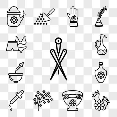 Set Of 13 transparent icons such as Acupuncture needles, feet with flowers, Flowers floating, tree twigs leaf, dropper, perfume, Relaxation bath, web ui editable icon pack, transparency set