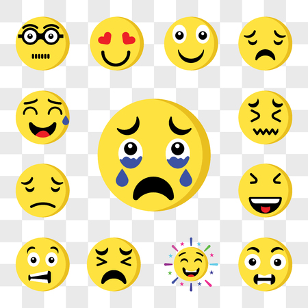 Set Of 13 transparent editable icons such as Crying, Outrage, Cheering, Sad, Sca, Laughing, Sweat, web ui icon pack, transparency set