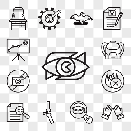 Set Of 13 transparent icons such as neighborhood watch, dua, most read, ortho, data integrity, fire retardant, picture not available, Backpack, web ui editable icon pack, transparency set