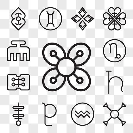 Conjunto de 13 iconos editables transparentes como abundancia, comprensión, Acuario, Plutón, fuerza, Urano, amistad, Capricornio, belleza, paquete de iconos de interfaz de usuario web, conjunto de transparencia