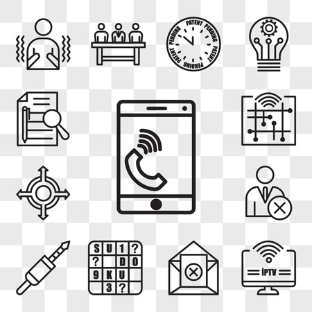 Set Of 13 transparent editable icons such as celphone, iptv, unsubscribe, sudoku, 3.5 mm jack, unfollow, agnostic, digitalisation, executive summary, web ui icon pack, transparency set Stock Illustratie