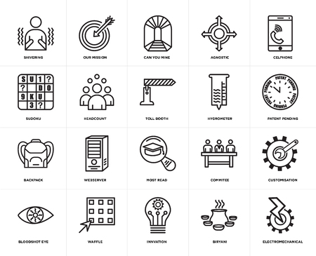 Set Of 20 simple editable icons such as electromechanical, patent pending, celphone, agnostic, bloodshot eye, our mission, commitee, sudoku, web UI icon pack, pixel perfect
