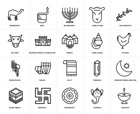 Set Of 20 simple editable icons such as Religion, Chicken, Olive Branch, Lamb of God, Kaaba Mecca, Dipa, Mezuzah, Sac cow, web UI icon pack, pixel perfect