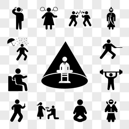 Conjunto de 13 iconos transparentes como hombre secuestrado, guerrero ninja, pose de meditación, hombre dando flores, mirando smartphone, haciendo ejercicios, paquete de iconos editables de interfaz de usuario web, transparencia