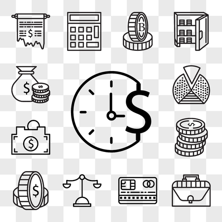 Set Of 13 transparent editable icons such as Time is money, Briefcase, Cit card, Justice scale, Coin, Coins, Piggy bank, Pie chart, Rich, web ui icon pack, transparency set