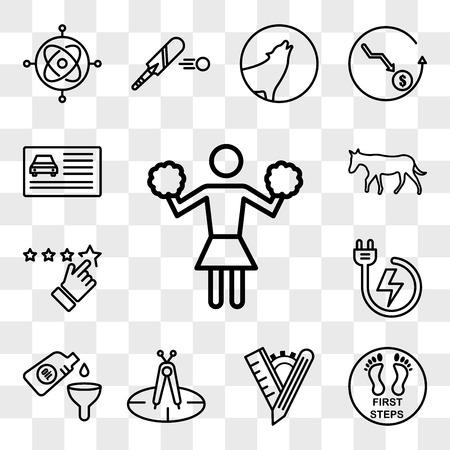 Set Of 13 transparent editable icons such as cheerleader, first steps, tailor made, calibration, oil change, power backup, rate us, ass, drivers license, web ui icon pack, transparency set Ilustração