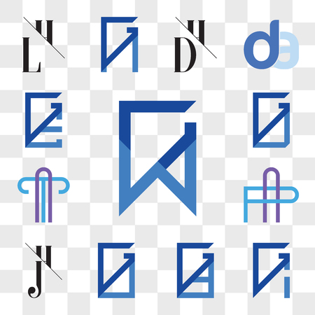 Set Of 13 transparent editable icons such as GW, WG, GI, IG, GD, DG, GO, OG, JH, HJ, AP or PA Letter, AT TA GU, UG, GE, EG, web ui icon pack, transparency set