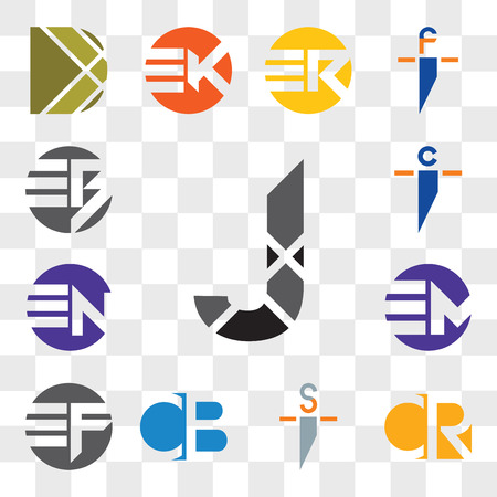 Set Of 13 transparent editable icons such as J Letter, CR RC, si is, CB BC, EF FE, EM ME, EN NE, ci ic, EB BE, web ui icon pack, transparency set