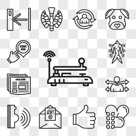 Set Of 13 transparent editable icons such as telegraph, nutritionist, thumbs up, snail mail, voice command, versatility, local news, ginseng, start here, web ui icon pack, transparency set