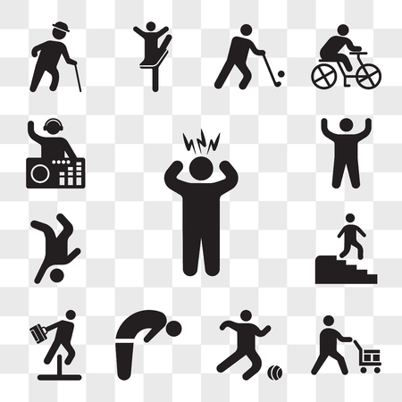 Set Of 13 transparent icons such as Surprised Man, Worker loading boxes, Soccer player, Backbend, Businessman jumping an obstacle, Man descending stairs, web ui editable icon pack, transparency Illustration