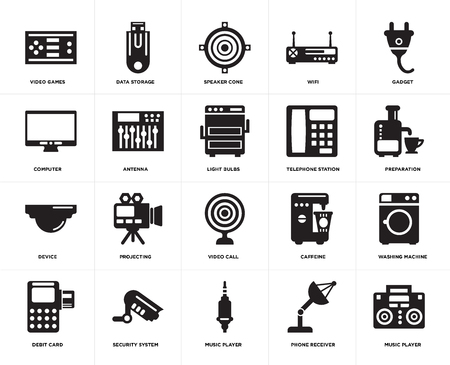 Set Of 20 simple editable icons such as Music player, Preparation, Gadget, Wifi, Debit card, Data storage, Caffeine, Computer, web UI icon pack, pixel perfect
