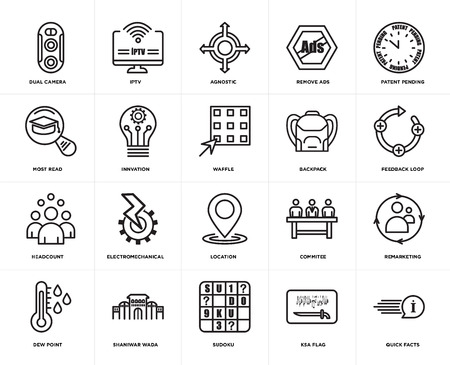 Set Of 20 icons such as quick facts, ksa flag, sudoku, shaniwar wada, dew point, patent pending, Backpack, location, headcount, innvation, agnostic, web UI editable icon pack, pixel perfect