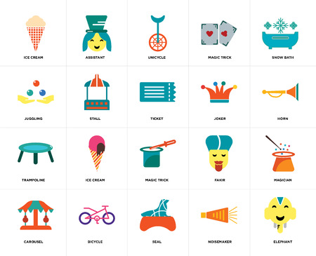 Set Of 20 icons such as Elephant, Noisemaker, Seal, Bicycle, Carousel, Snow bath, Joker, Magic trick, Trampoline, Stall, Unicycle, web UI editable icon pack, pixel perfect