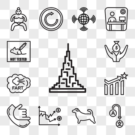 Set Of 13 transparent icons such as burj khalifa, change language, jack russell, volatility, call me, efficacy, fart, lender, web ui editable icon pack, transparency set Vector Illustration