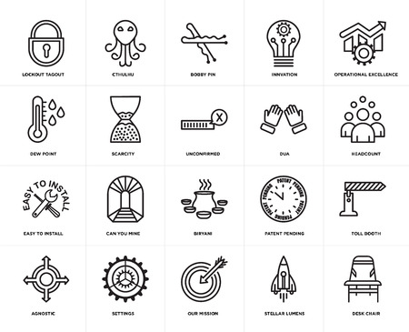Set Of 20 simple editable icons such as Desk chair, headcount, operational excellence, innvation, agnostic, cthulhu, patent pending, dew point, web UI icon pack, pixel perfect Ilustração