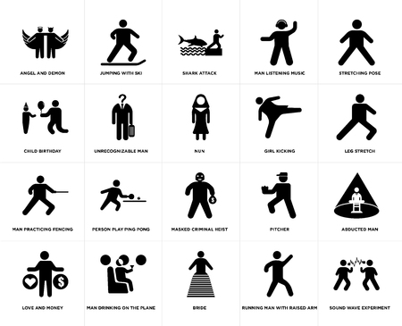 Set Of 20 simple editable icons such as Leg stretch, Bride, Man drinking on the plane, Child Birthday, Nun, web UI icon pack, pixel perfect